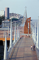 People strolling on the Malecon 2000 pedestrian walkway on the restored waterfront area of Guayaquil, Ecuador