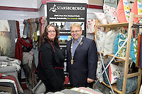 from left, Andrea Leader and Mayor Ray Wallace, New Zealand Eco Fashion Exposed Opening Function at 151 High Street, Lower Hutt, New Zealand on Wednesday 23 July 2014. <br /> Photo by Masanori Udagawa. <br /> www.photowellington.photoshelter.com.