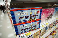 Yehuda brand Shabbos Candles in the Kosher food department of a supermarket in New york on Saturday, March 4, 2017. (© Richard B. Levine)