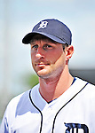 9 March 2012: Detroit Tigers pitcher Max Scherzer stands outside the dugout prior to a Spring Training game against the Philadelphia Phillies at Joker Marchant Stadium in Lakeland, Florida. The Phillies defeated the Tigers 7-5 in Grapefruit League action. Mandatory Credit: Ed Wolfstein Photo