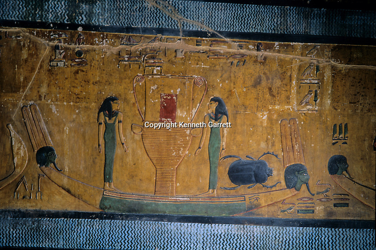 Tomb of Seti I; barq, painting, solar boat, scarab, Valley of the Kings; New Kingdom; Book of the dead, sailing, cool blue water, journey to afterlife, Egypt
