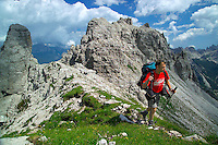 Dolomiti Friulani, Forni di Sopra, Italy, August 2004. Trekking in the Dolomiti Friulani means climbing and descending steep paths  and lots of rocky passes. The effort is rewarded with splendid views over towering rock formations. Photo by Frits Meyst/Adventure4ever.com