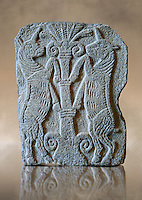 9th century BC stone Neo-Hittite/ Aramaean Orthostats from Palace Temple of the Aramaean city of Tell Halaf in northeastern Syria close to the Turkish border. The Orthostats are in a Neo Hittite style and depict mythical animals and figures that have magical properties. Pergamon Museum, Berlin . Museum Inv No: VA  8840,