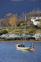 Traditional Nordlands boat in harbour, Skutvik, Nordland, Arctic Norway