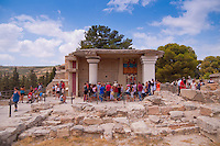Tourists near the ruins of Minoan Knossos palace