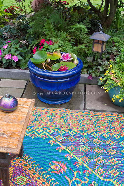 Tiny Water Garden With Water Lilies In Blue Pot Container, Outdoor Colorful  Rug, Patio