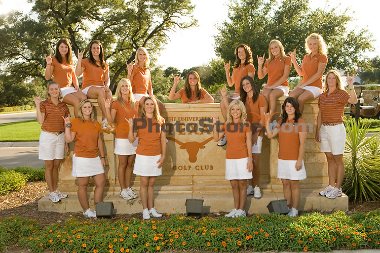 Women's golf team photo and posed action.(The University of Texas/Jim Sigmon)