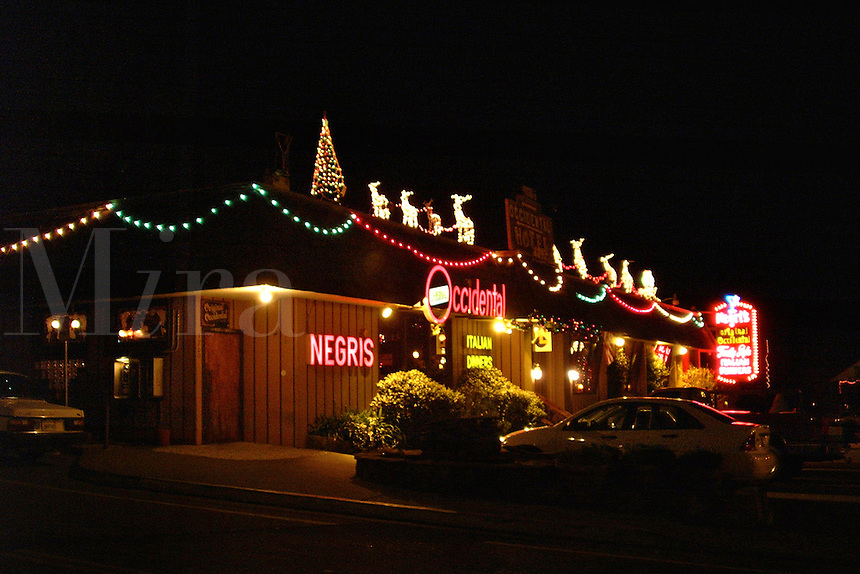 Negris Restaurant at night in Occidental California at Christmas time.  It is a traditional destination for family diners all over the greater Bay Area in Northern California.