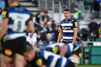 Ollie Devoto of Bath Rugby watches a scrum. West Country Challenge Cup match, between Bath Rugby and Gloucester Rugby on September 26, 2015 at the Recreation Ground in Bath, England. Photo by: Patrick Khachfe / Onside Images