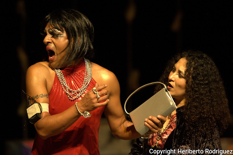 Tepito Arte Aca theatre company actors stage the play Noche de Guerreros and Chamanes  (Night of Warriors and Chamanes) in the Ferrocarrilero Theater in Mexico City, September 4, 2011. Photo by Heriberto Rodriguez