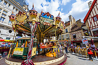 France, Burgundy, Bourgogne, Dijon. European Waterways wine barge cruising. Market in Dijon. Carousel in city center.