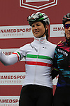 Italian National Champion Elena Cecchini (ITA) Canyon-Sram Racing team riders at sign on before the start of the Ladies 2017 Strade Bianche running 127km from Siena to Siena, Tuscany, Italy 4th March 2017.<br /> Picture: Eoin Clarke | Newsfile<br /> <br /> <br /> All photos usage must carry mandatory copyright credit (&copy; Newsfile | Eoin Clarke)