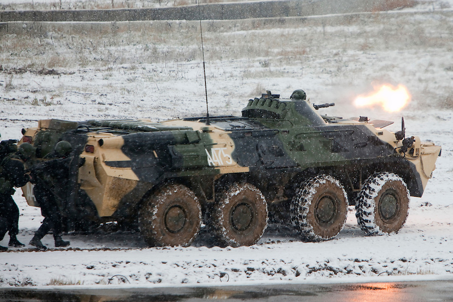 Krasnoarmeysk, Moscow Region, Russia, 29/10/2010..Russian special forces use an armoured personnel carrier to storm a building during a training exercise at a military base outside Moscow. The exercise was part of the Interpolitex 2010 state security exhibition.
