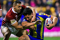 Picture by Alex Whitehead/SWpix.com - 09/03/2017 - Rugby League - Betfred Super League - Warrington Wolves v Wigan Warriors - Halliwell Jones Stadium, Warrington, England - Warrington's Andre Savelio is tackled by Wigan's Willie Isa.