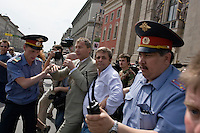 Moscow, Russia, 27/05/2007..German Bundestag member Volker Beck [centre] is arrested at Moscow's second attempted Gay Pride parade. The parade had already been banned by Moscow Mayor Yuri Luzhkov on the grounds that it would provoke violence, but gay activists attempted to demonstrate in defiance of the ban, and many were beaten by counter demonstrators and arrested by police.