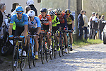The breakaway group led by Laurens De Vreese (BEL) Astana summit the Taaienberg 18% cobbled climb during the 60th edition of the Record Bank E3 Harelbeke 2017, Flanders, Belgium. 24th March 2017.<br /> Picture: Eoin Clarke | Cyclefile<br /> <br /> <br /> All photos usage must carry mandatory copyright credit (&copy; Cyclefile | Eoin Clarke)