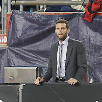 D.C. United coach Ben Olsen. In a Major League Soccer (MLS) match, the New England Revolution (blue) tied D.C. United (white), 0-0, at Gillette Stadium on June 8, 2013.