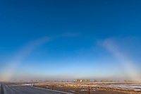 Fog bow, Prudhoe Bay oil field, arctic coastal plain, Alaska.