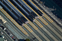 aerial photograph CalTrain commuter rail cars at station San Francisco, California