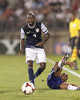 USMNT defender DaMarcus Beasley (7) passes the ball.  In CONCACAF Gold Cup Group Stage, the U.S. Men's National Team (USMNT) (blue/white) defeated Costa Rica (red/blue), 1-0, at Rentschler Field, East Hartford, CT on July 16, 2013.