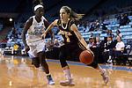 21 November 2015: Iona's Marina Lizarazu (ESP) (1) and North Carolina's Destinee Walker (24). The University of North Carolina Tar Heels hosted the Iona College Gaels at Carmichael Arena in Chapel Hill, North Carolina in a 2015-16 NCAA Division I Women's Basketball game. UNC won the game 64-52.