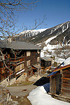 Snow covered village of Ritzingen in the Swiss alps- close to the Furkapass, Oberwald, Switzerland.