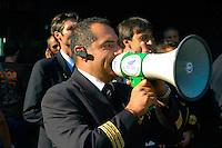 Roma 18 September 2008.Alitalia's employees  demonstrate to  airport Leonardo da Vinci pending the meeting of the Italian consortium which proposed the purchase of Alitalia..Manifestazione dei dipendenti Alitalia all'aereoporto Leonardo da Vinci in attesa della riunione del consorzio che ha proposto l'acquisto di Alitalia