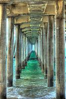 Huntington Beach, CA, Pier, Under, Concrete, Ocean Waves,