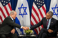 (L to R) Prime Minister of Israel Benjamin Netanyahu shakes hands with United States President Barack Obama during a bilateral meeting at the Lotte New York Palace Hotel, September 21, 2016 in New York City. Last week, Israel and the United States agreed to a $38 billion, 10-year aid package for Israel. Obama is expected to discuss the need for a &quot;two-state solution&quot; for the Israeli-Palestinian conflict. <br /> Credit: Drew Angerer / Pool via CNP /MediaPunch