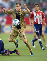 Philadelphia Union defender Jordan Harvey (2) steals the ball. The Philadelphia Union and CD Chivas USA played to 1-1 draw at Home Depot Center stadium in Carson, California on Saturday evening July 3, 2010..