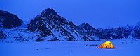 Winter base camp on the Twaharpies glacier, Wrangell St. Elias Mountain range, Wrangell St. Elias National Park, Alaska.