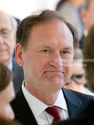 Associate Justice of the United States Supreme Court Samuel Alito on the Colonnade as he arrives for the Oath of Office ceremony for new Associate Justice of the US Supreme Court Neil Gorsuch in the Rose Garden of the White House in Washington, DC on Monday, April 10, 2017.<br /> Credit: Ron Sachs / CNP<br /> (RESTRICTION: NO New York or New Jersey Newspapers or newspapers within a 75 mile radius of New York City)