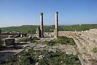 General view of the temple of Concorde, Frugifer and Liber Pater, 2nd century, in Dougga, Tunisia, pictured on January 31, 2008, in the morning. Dougga has been occupied since the 2nd Millennium BC, well before the Phoenicians arrived in Tunisia. It was ruled by Carthage from the 4th century BC, then by Numidians, who called it Thugga and finally taken over by the Romans in the 2nd century. Situated in the north of Tunisia, the site became a UNESCO World Heritage Site in 1997. Picture by Manuel Cohen.