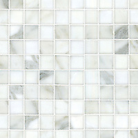 "Gridded 3"", a hand-cut stone mosaic, shown in polished Calacatta."
