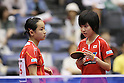 (L to R) Mima Ito, Miu Hirano (JPN), .JUNE 7, 2012 - Table Tennis : The Japan Open 2012, Women's Doubles Qualifying Round at Green Arena Kobe, Hyogo, Japan. (Photo by Akihiro Sugimoto/AFLO SPORT) [1080]