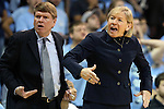 03 February 2013: UNC head coach Sylvia Hatchell (right), with 899 career wins coming into the game, with associate head coach Andrew Calder (left). The University of North Carolina Tar Heels played the Duke University Blue Devils at Carmichael Arena in Chapel Hill, North Carolina in an NCAA Division I Women's Basketball game.