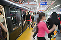 Passengers getting on and off RapidKL light rail train at Kuala Lumpur Central station. Kuala Lumpur, Selangor, Malaysia