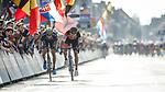 Greg Van Avermaet (BEL) BMC Racing Team outsprints Jens Keukeleire (BEL) Orica-Scott to win Gent-Wevelgem in Flanders Fields 2017 running 249km from Denieze to Wevelgem, Flanders, Belgium. 26th March 2017.<br /> Picture: Jim Fryer/BrakeThrough Media | Cyclefile<br /> <br /> <br /> All photos usage must carry mandatory copyright credit (&copy; Cyclefile | Eoin Clarke)
