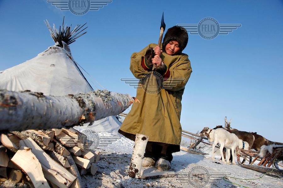nenets woman cutting firewood - photo #21