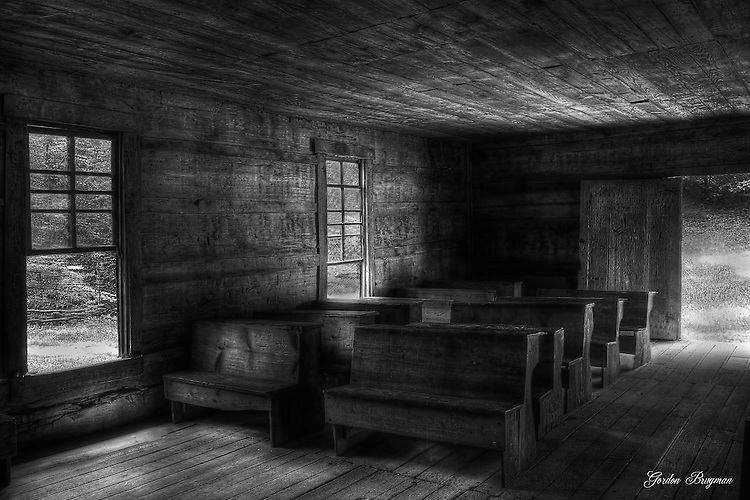Black and White HDR of the interior of the Little Greenbriar Schoolhouse in the Great Smoky Mountains National Park. Smoky Mountain photos by Gordon and Jan Brugman.