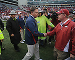 Ole Miss head coach Houston Nutt vs. Arkansas coach Bobby Petrino at Reynolds Razorback Stadium in Fayetteville, Ark. on Saturday, October 23, 2010. Arkansas won 38-24.