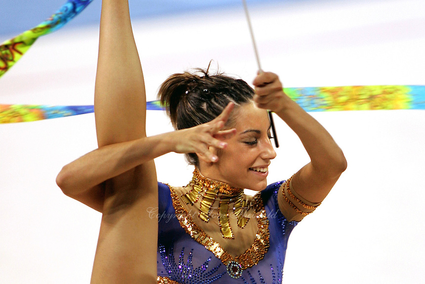 August 29, 2004; Athens, Greece; Rhythmic gymnastics star ALMUDENA CID of Spain performs with ribbon in All-Around competition at 2004 Athens Olympics.<br />
