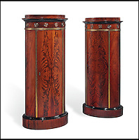 BNPS.co.uk (01202 558833)<br /> Pic: Christie's/BNPS<br /> <br /> ***Please use full byline***<br /> <br /> A pair of baltic mahogany pedestal cabinets.<br /> <br /> An interior designer to the stars is selling virtually the entire contents of her multi-million pounds London apartment that she is moving out of.<br /> <br /> Tessa Kennedy's client list for home makeovers has included Elizabeth Taylor, George Harrison and Pierce Brosnan as well as famous hotels like the Ritz and Claridges.<br /> <br /> During her jet-set career, she acquired opulent pieces of furniture, art work and ornaments from around the world that she filled her town and country residence with.<br /> <br /> Now aged 75, Miss Kennedy no longer requires her three-bed Knightsbridge flat and is auctioning off most of its contents in a unique sale at Christie's.