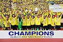 Kashiwa Reysol team group,.MARCH 3, 2012 - Football / Soccer :.Kashiwa Reysol players celebrate with the trophy in ftont of their fans after winning the FUJI XEROX Super Cup 2012 match between Kashiwa Reysol 2-1 F.C.Tokyo at National Stadium in Tokyo, Japan. (Photo by AFLO)