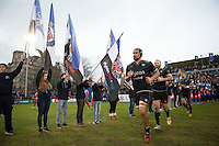 Leroy Houston of Bath Rugby runs out onto the field for the start of the second half. European Rugby Champions Cup match, between Bath Rugby and RC Toulon on January 23, 2016 at the Recreation Ground in Bath, England. Photo by: Patrick Khachfe / Onside Images