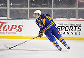 Buffalo Junior Sabres defensemen Tony DeVito (8) during a game against the St. Michaels Buzzers at the Frozen Frontier outdoor game at Frontier Field on December 15, 2013 in Rochester, New York.  St. Michael's defeated Buffalo 5-4.  (Copyright Mike Janes Photography)