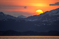 Sunset over the Chugach mountains, western Prince William Sound, southcentral, Alaska