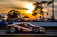 Sunset, #63 Ferrari, Townsend Bell, Anthony Lazzaro, Bill Sweedler  12 Hours of Sebring, Sebring International Raceway, Sebring, FL, March 2015.  (Photo by Brian Cleary/ www.bcpix.com )
