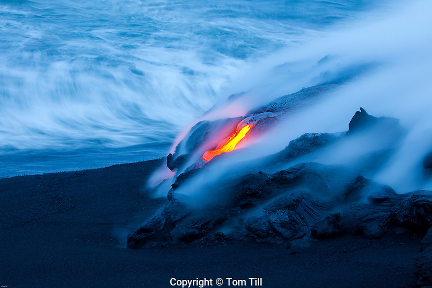 Lava entering Pacific Ocean<br /> Hawaii Volcanoes National Park, Hawaii<br /> Big Island of Hawaii <br /> Continual flow from Kilueau Volcano<br /> World's most active