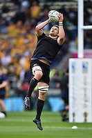 Richie McCaw of New Zealand claims the ball in the air during the pre-match warm-up. Rugby World Cup Final between New Zealand and Australia on October 31, 2015 at Twickenham Stadium in London, England. Photo by: Patrick Khachfe / Onside Images